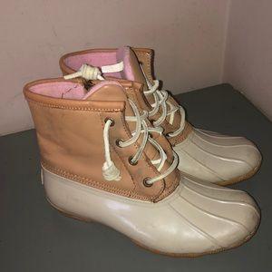 Sperry top sider rain boots salt water sz 5 tan
